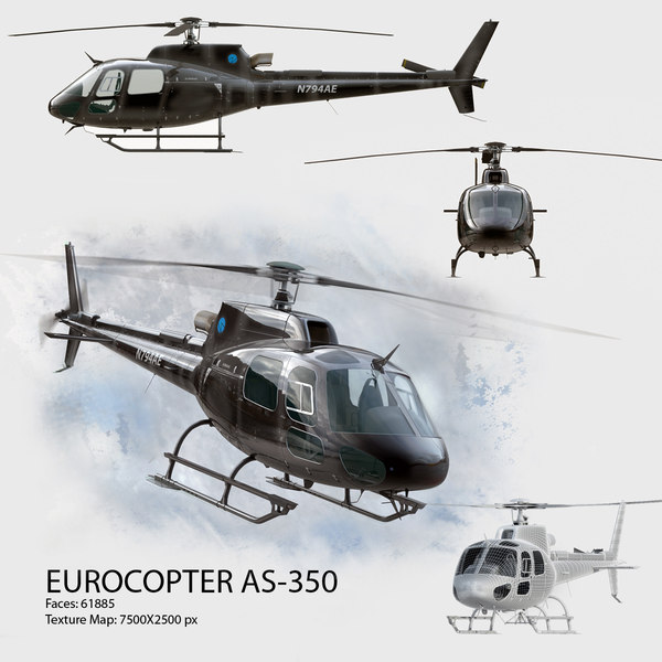 3d model of eurocopter 350 - Eurocopter AS 350 Black... by Galva858
