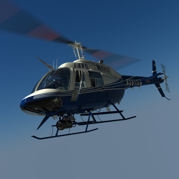 3d bell helicopter police - Bell Jetranger 206 Police Helicopter... by dynamo3D