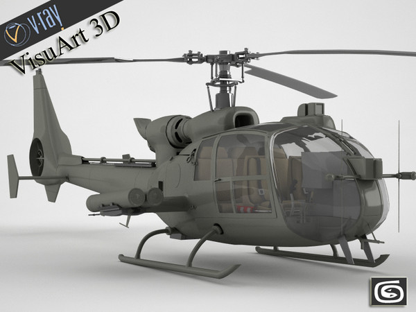 3ds gazelle helicopter - Gazelle warrior helicopter... by VisuArt3D