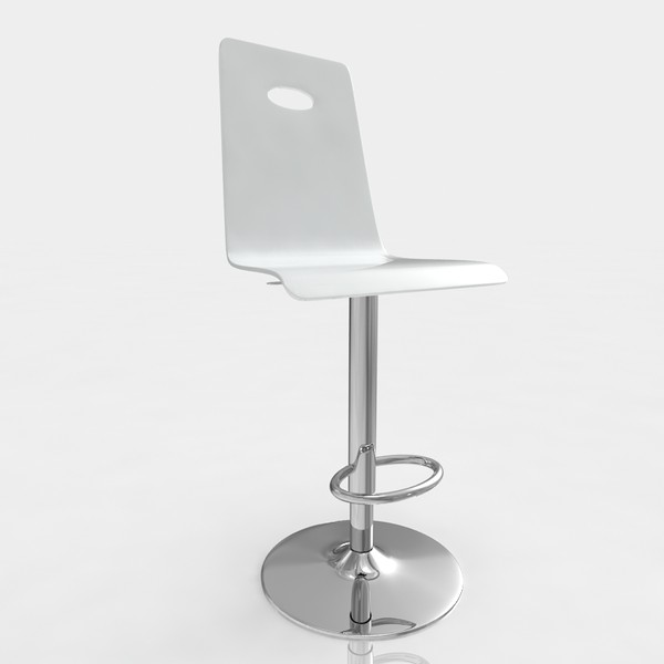 3d model of bar stool - Bar stool 40 white plastic... by razlomov
