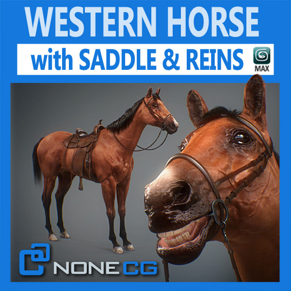 horse animal mammal 3d model - Western Horse... by NONECG