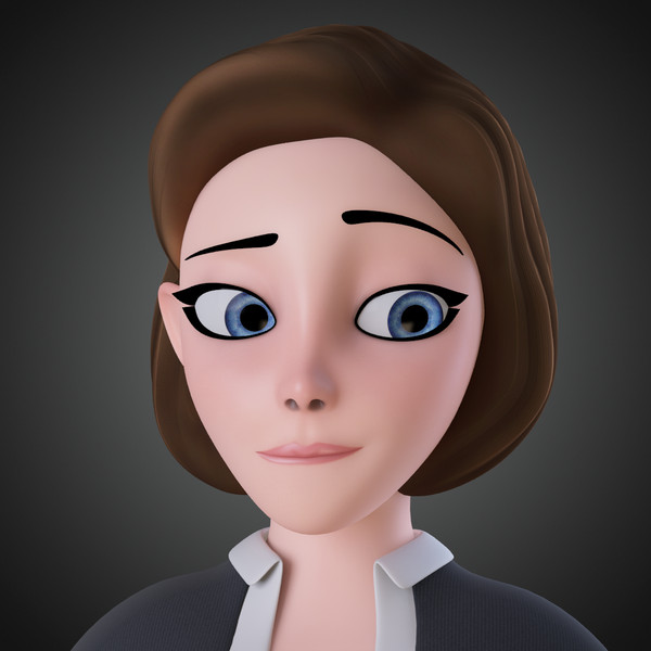 3d model rigged cartoon woman - Cartoon Woman Rigged... by IndieArt