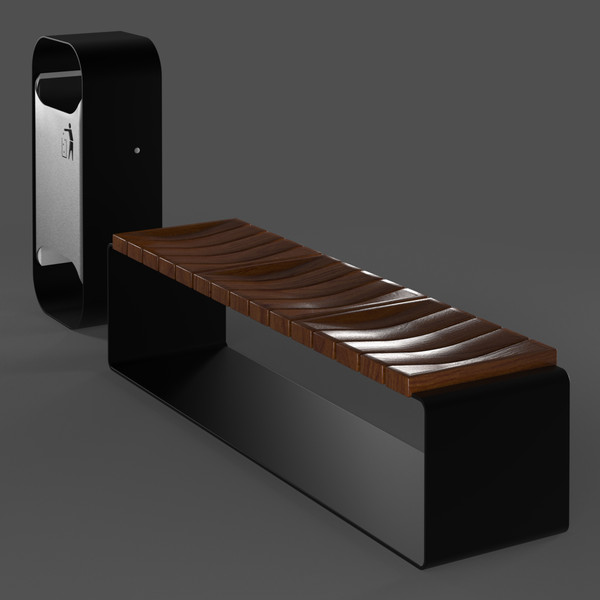 3d model of oval bench set - Oval Bench Set... by arch.3d