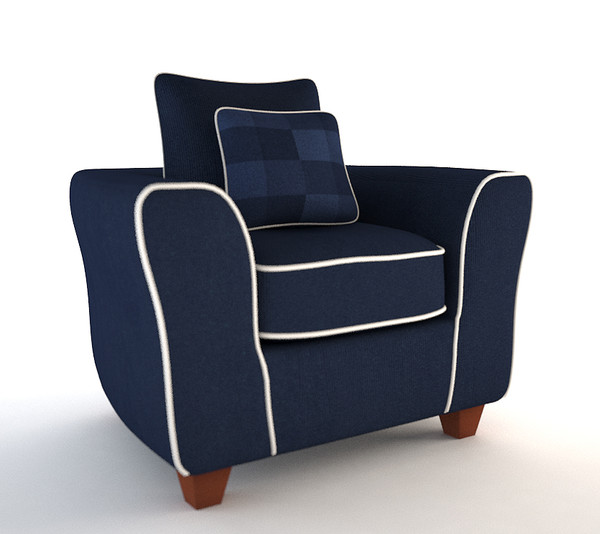 3ds max blue armchair sofa couch - Blue Armchair Sofa with Throw Pillow... by Carl Herring