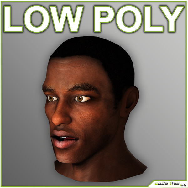 human head max - Low Poly Black Male Head... by codethislab