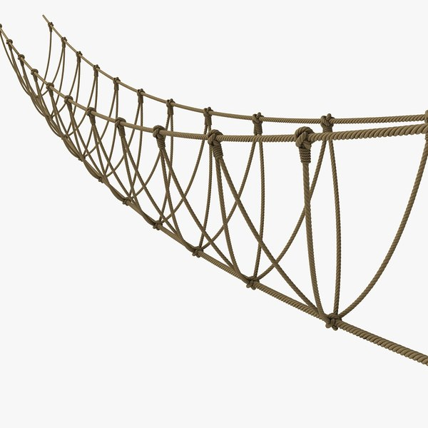 Rope Wire Bridge Over River Jungle 3D Models