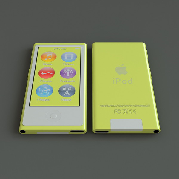 3ds yellow ipod nano 7th - Ipod Nano Generation 7th Yellow... by 3d_molier