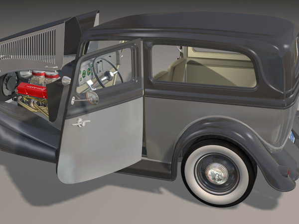 3dsmax 34 sedan hot rod - 34 Sedan Hot Rod sbv8 4brl dual quad... by iw43d