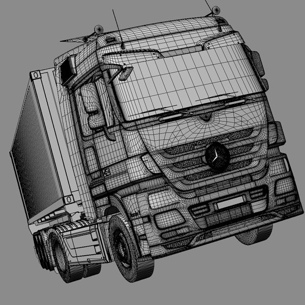 3d mercedes actros semitruck containers model - Mercedes Actros with containers semitruck... by ArqArt3D