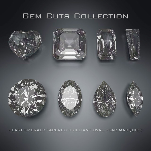 8 gem cuts obj - 8 Gem Cuts Collection... by robstranges