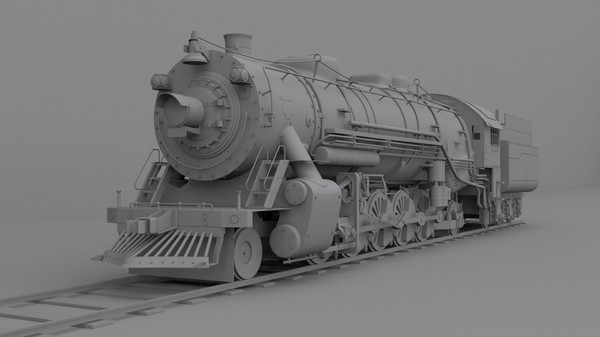 3ds max steam locomotive - Steam locomotive... by cyberniee