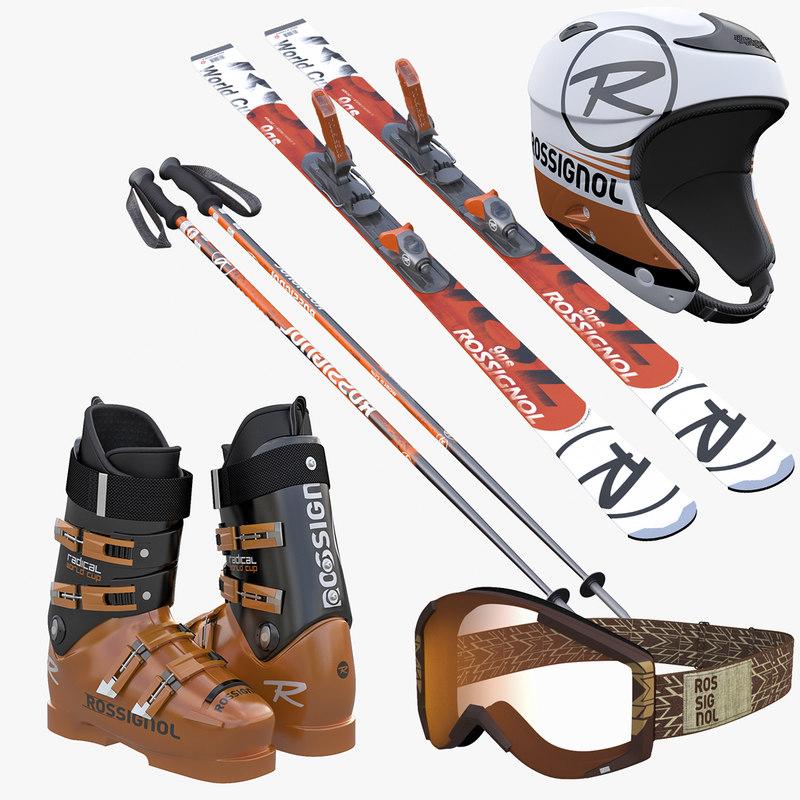 Alpine Ski Boots Helmet Goggles Poles Collection