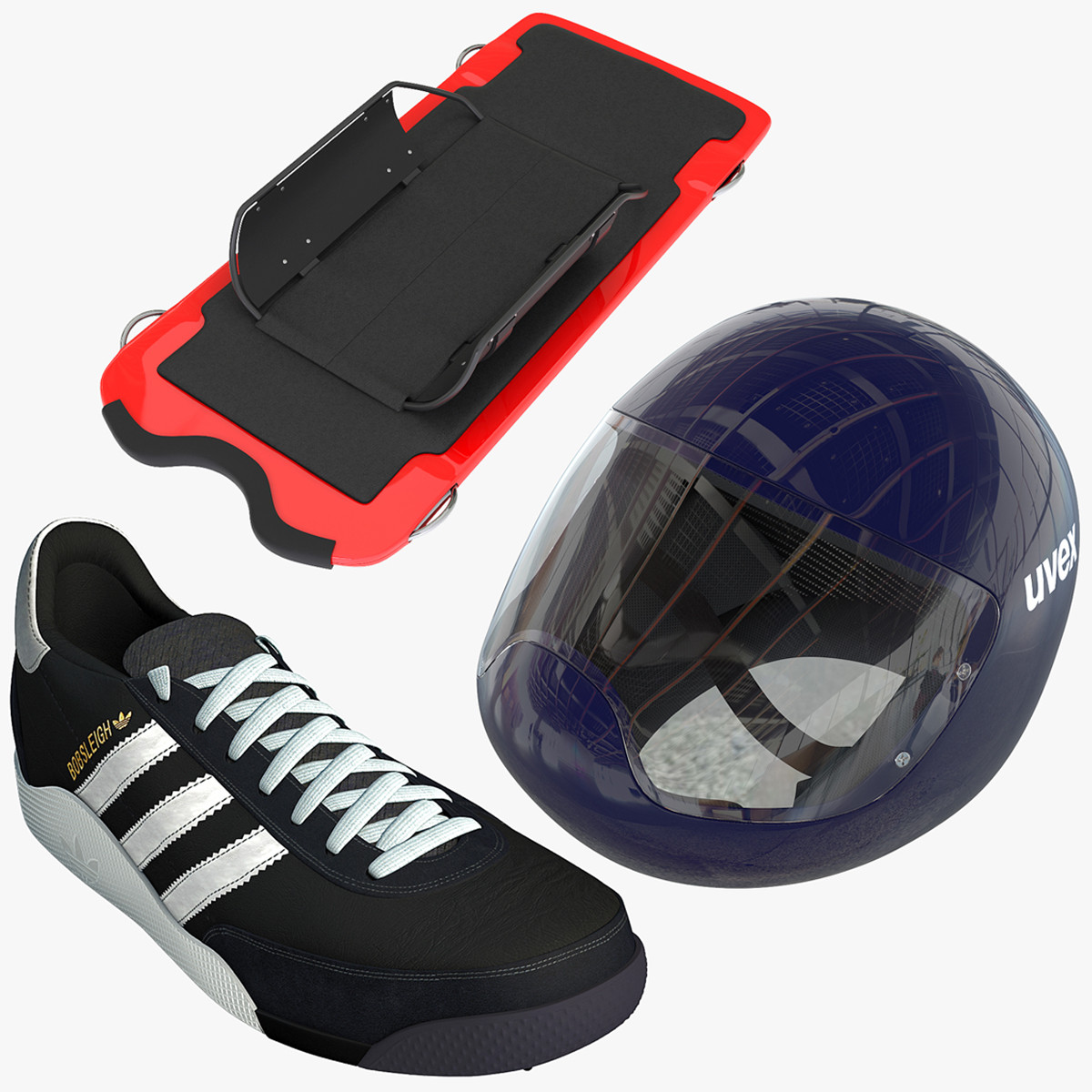 Skeleton Sled Shoes and Helmet