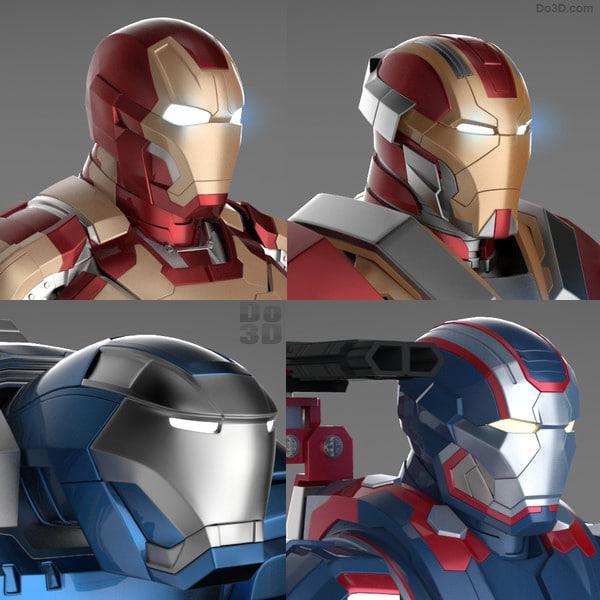 Iron Man 3 Suits - Mark 42 Tony Stark Armor & Patriot Armor & Mark 17 Heartbreaker Armor & Mark 38 Igor Armor