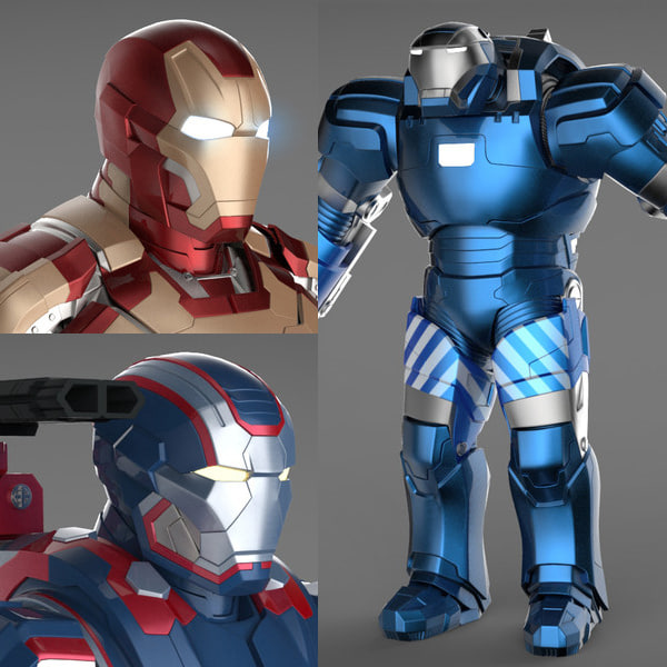 Iron Man 3 Suits - Mark 42 Tony Stark Armor & Patriot Armor & Mark 38 Igor Armor Texture Maps