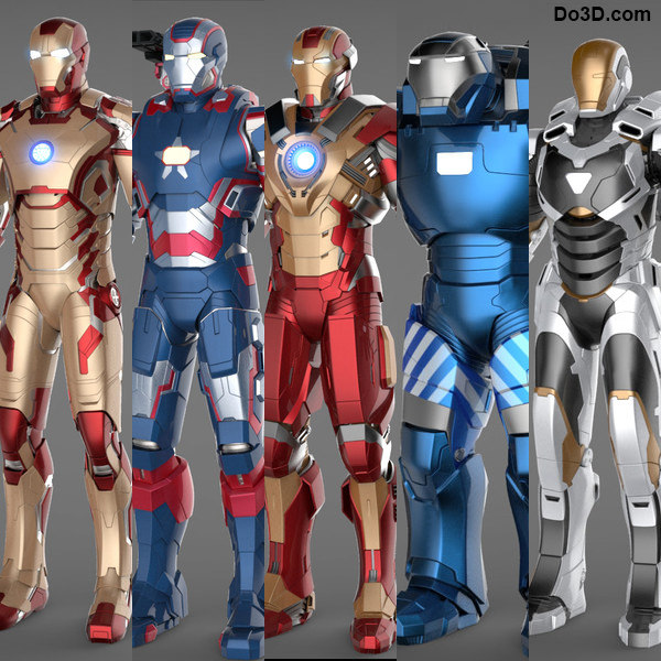 Iron Man 3 Suits - Mark 42 Tony Stark Armor, Patriot Armor, Mark 17 Heartbreaker Armor, Mark 38 Igor Armor and Mark 39 Gemini Armor Texture Maps
