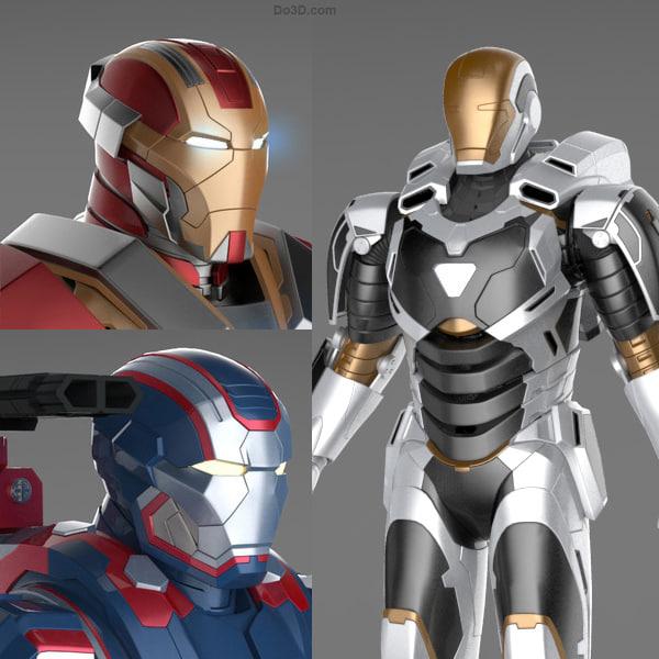 Iron Man 3 Suits -Patriot Armor, Mark 17 Heartbreaker Armor and Mark 39 Gemini Armor