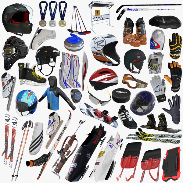 Winter Olympic Sports Equipment Collection 3D Models