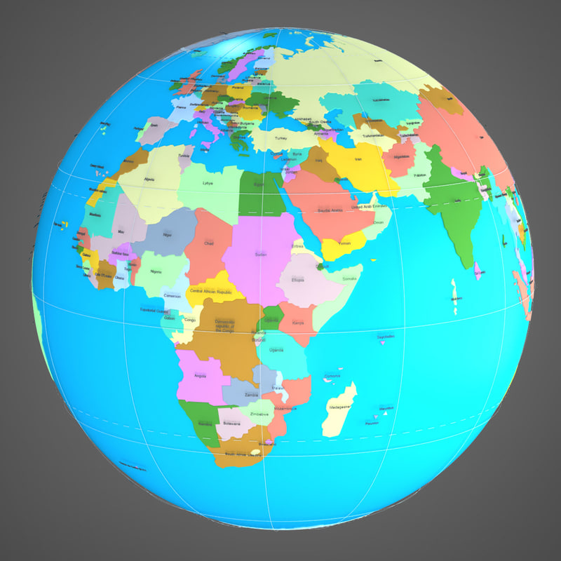 Searched 3d Models For Geopolitical Earth Globe Countries And