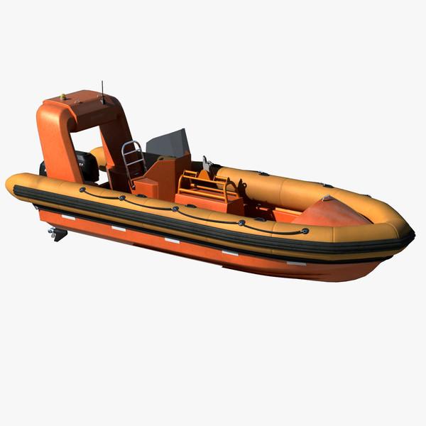 Rigid Inflatable Fast Rescue Boat 3D Models