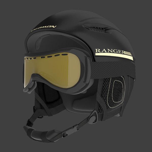 Winter Sports Helmet and Ski Goggles 3D Models