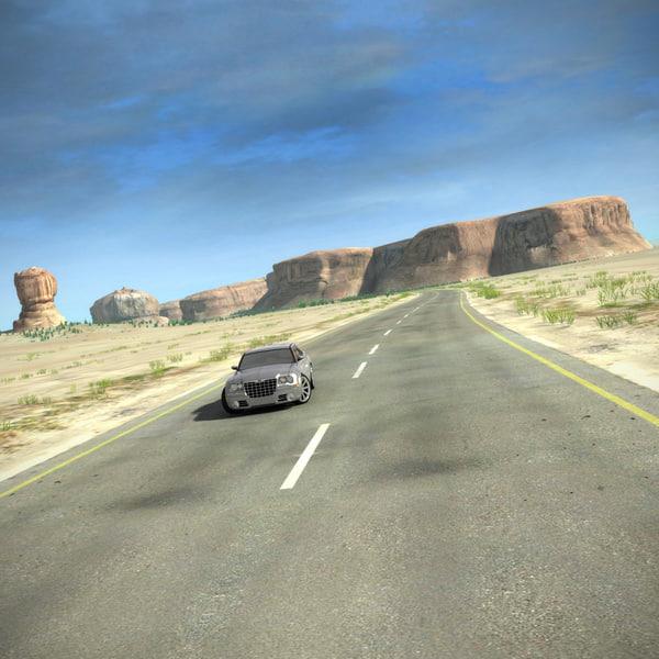Desert Road Complete Scene 3D Models