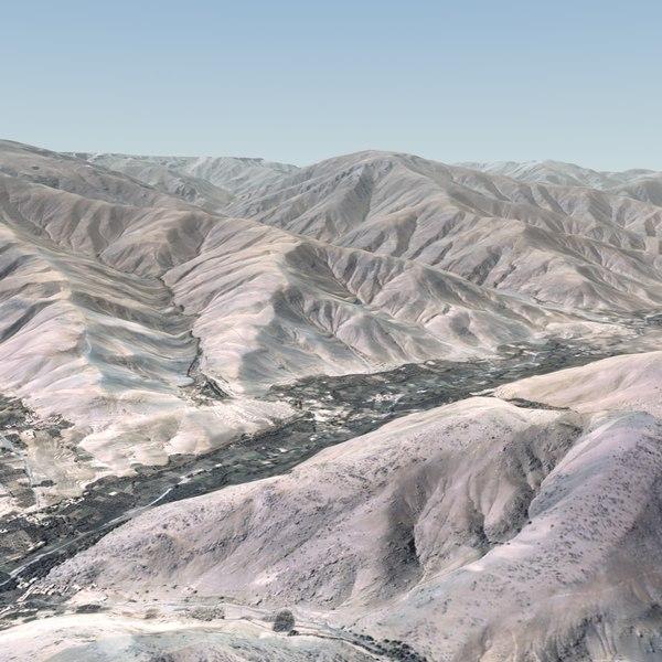 Afghanistan Terrain 28x20 Km 3D Models