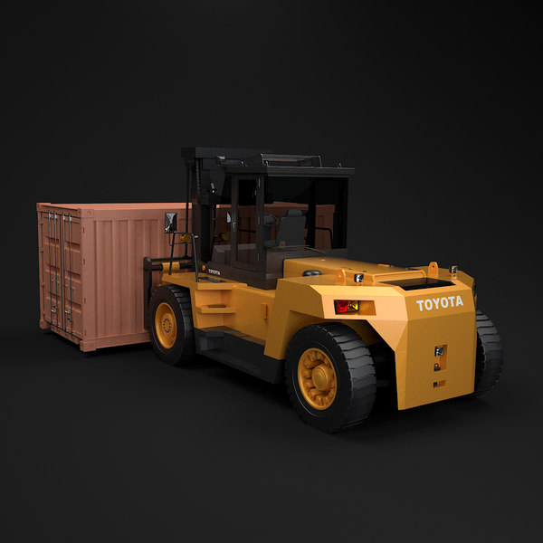 Forklift 4FD & Small Container 3D Models