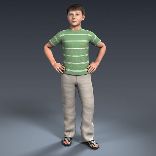 Ben, 9-13 Year Old Boy, Rigged 3D Models