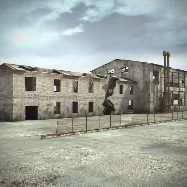 Ruin Building Hangar Warehouse 3D Models