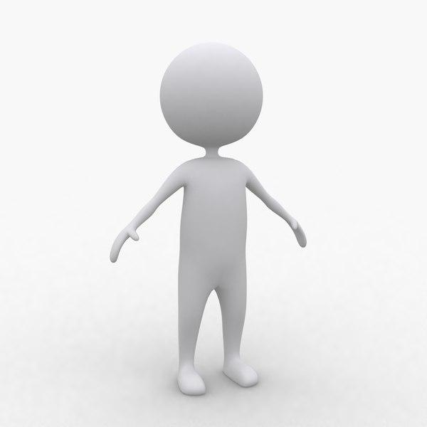 White Stickman Generic Cartoon Figure 3D Models: stickman.turbosquid.com/3d-Models/3ds/max/xsi/c4d/obj