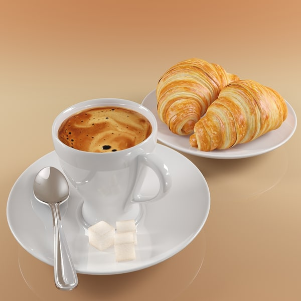 Coffee and Croissants 3D Models