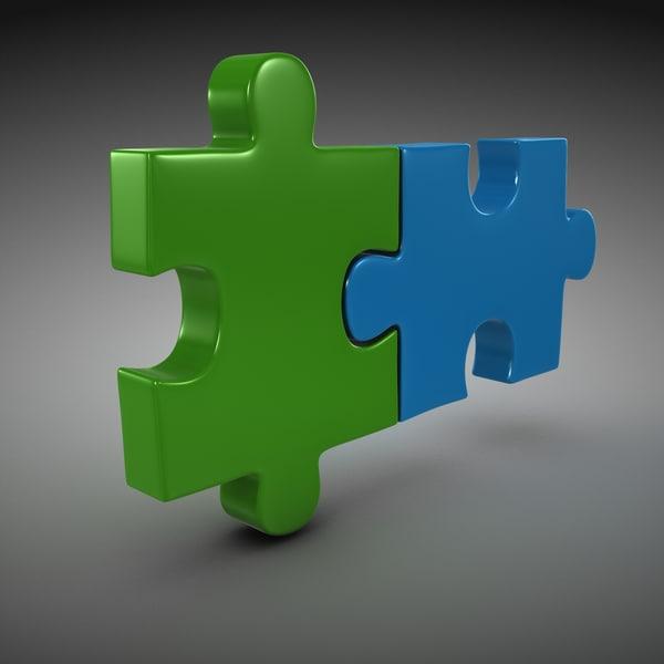 Jigsaw Puzzle (2 Piece) 3D Models
