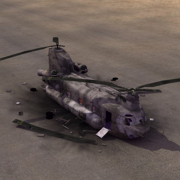 CH47 Chinook Crashed 3D Models