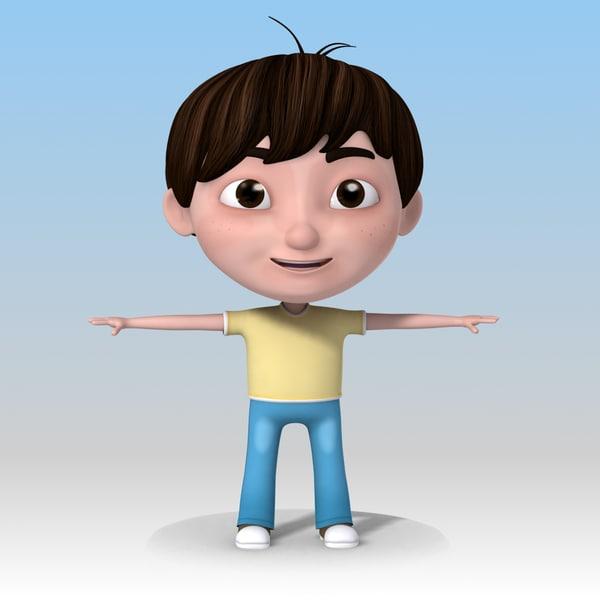 Cartoon Kid 04 Nice Boy 3D Models