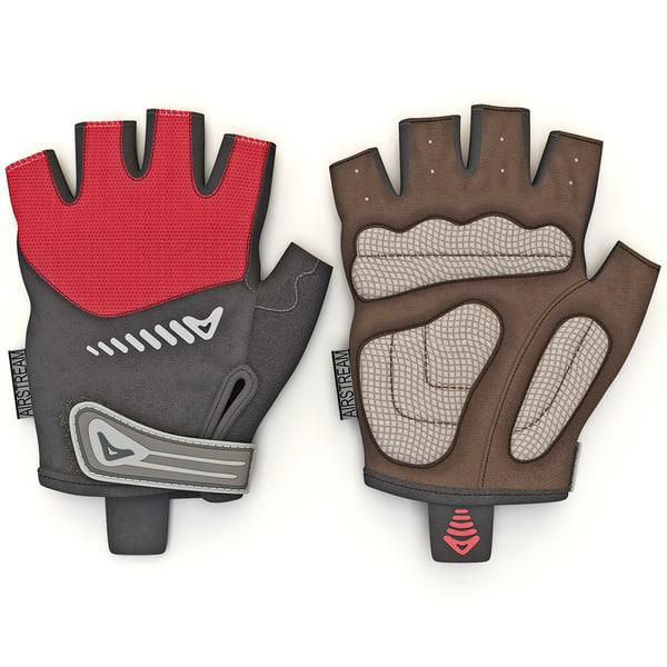 Short Finger Cycling Gloves 3D Models