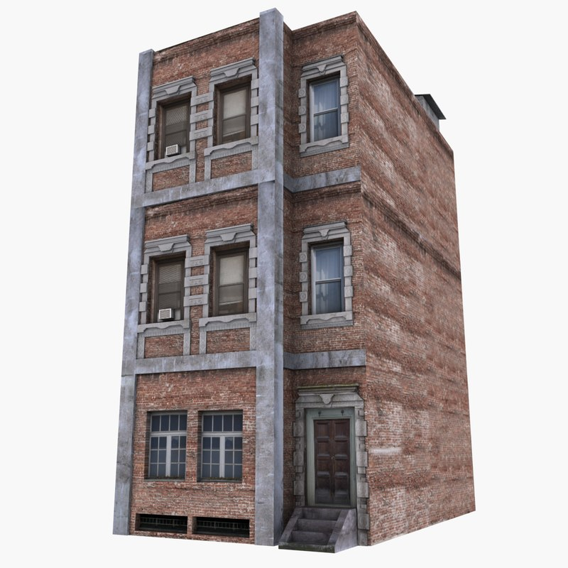 3d 3 story apartment building for Model house nyc