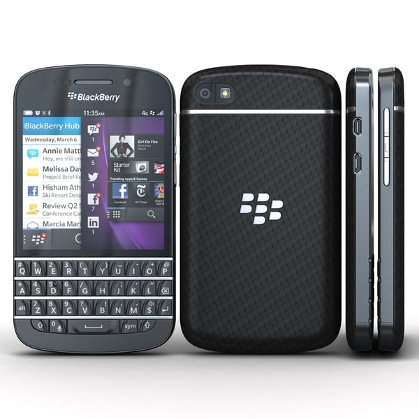 BlackBerry Q10 Black 3D Models
