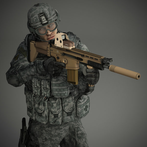 Military Male US Soldier Set 1 3D Models