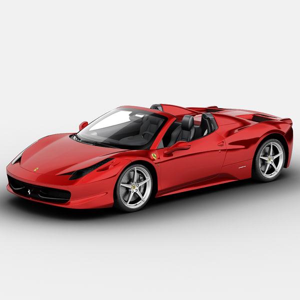 Ferrari 458 Italia Spider 2013 3D Models