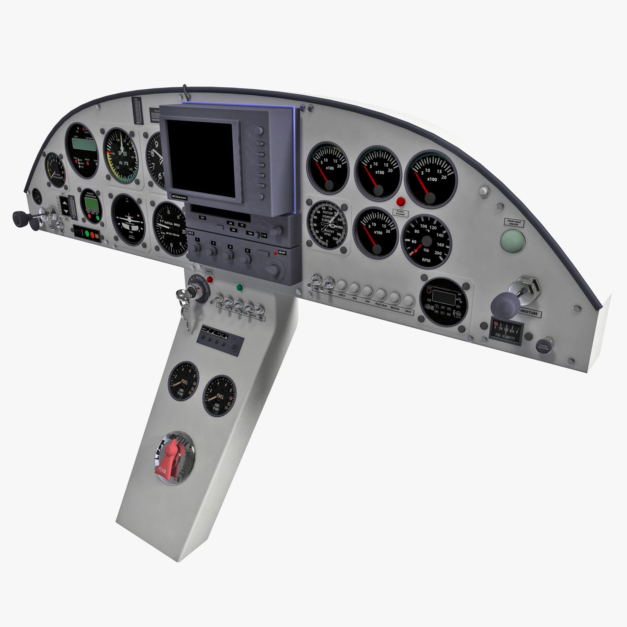 Aircraft Instrument Panel : Aircraft instrument panel d model