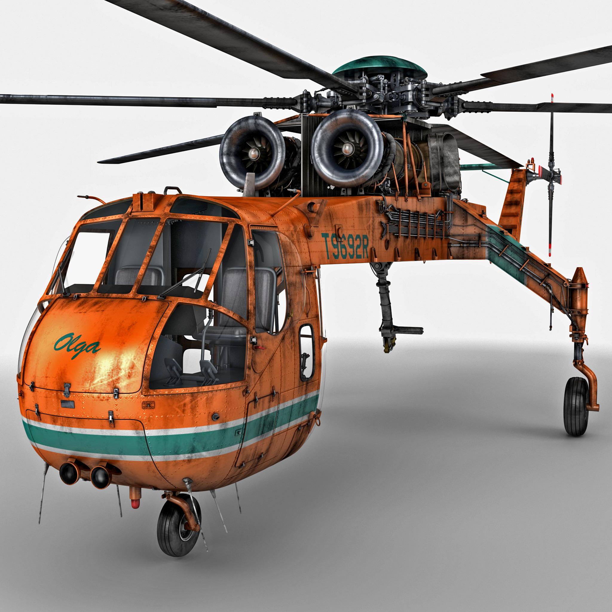 Elicottero S 64 F : Sikorsky s skycrane helicopter d obj