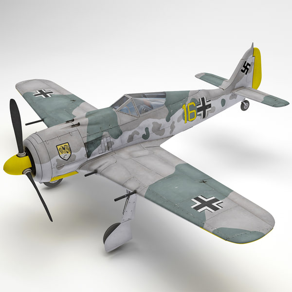 Focke Wulf Fw 190 German WWII Fighter Aircraft 2 Rigged 3D Models