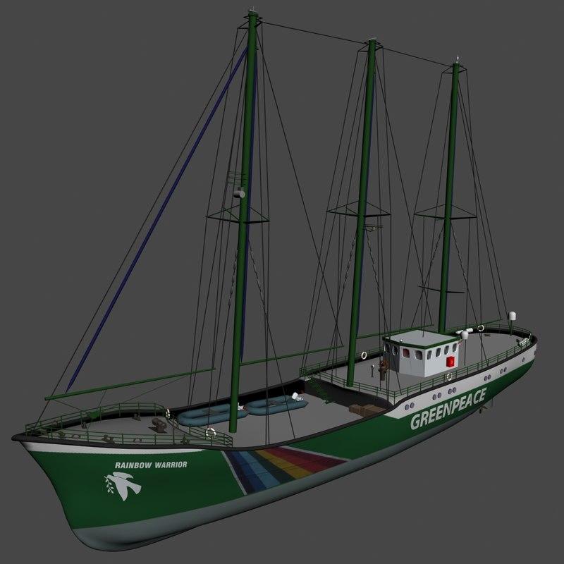 Rainbow Warrior I Ii Y Iii Greenpeace: 3d Model Of Rainbow Warrior Green Peace
