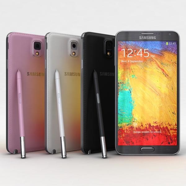 Samsung Galaxy Note 3 All Colors 3D Models
