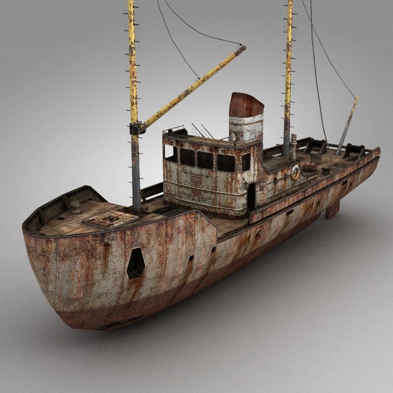 rusty fishing boat 3d model