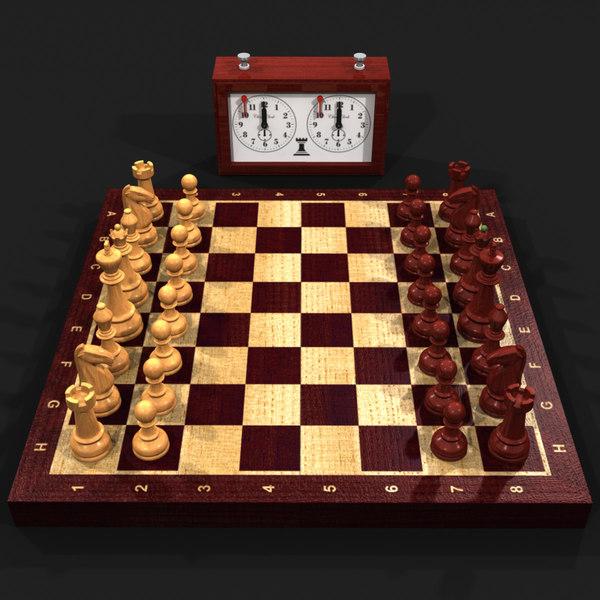 Wooden Chess Set 3D Models