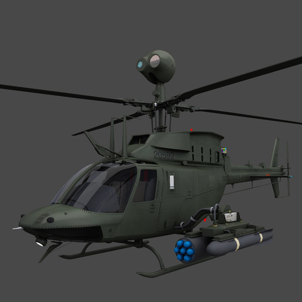 OH-58D Kiowa Warrior Helicopter 3D Models