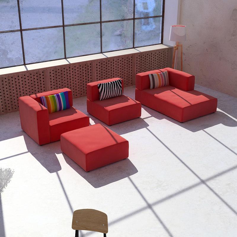 3d model boconcept sofa. Black Bedroom Furniture Sets. Home Design Ideas