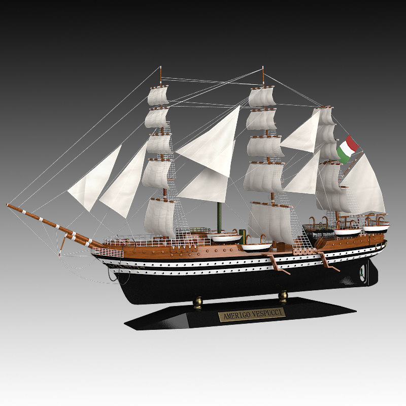 Caroti Amerigo Vespucci Ship sailboat boat miniature model accessory vintage collection antique decor sea theme_1.jpg